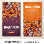 halloween banners set with... | Shutterstock .eps vector #302391413