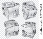 set of four transparent ice... | Shutterstock .eps vector #302392634