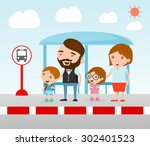 illustration of the family at... | Shutterstock .eps vector #302401523