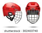 classic red goalkeeper hockey... | Shutterstock .eps vector #302403740