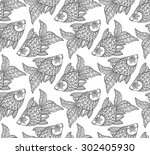 seamless pattern with cute hand ... | Shutterstock .eps vector #302405930