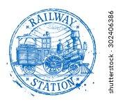 steam train vector logo design...   Shutterstock .eps vector #302406386
