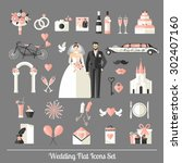 wedding symbols set. flat icons ... | Shutterstock .eps vector #302407160