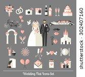 Wedding Symbols Set. Flat Icon...