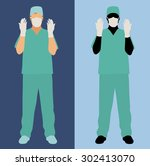 surgeon ready for surgery   Shutterstock .eps vector #302413070