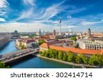 Stock photo aerial view of berlin skyline with famous tv tower and spree river in summer germany 302414714
