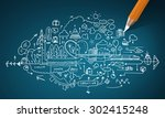 planning concept with pencil... | Shutterstock . vector #302415248