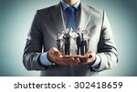 close up of businessman holding ... | Shutterstock . vector #302418659