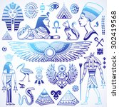 set of vector isolated egypt... | Shutterstock .eps vector #302419568