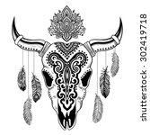 vector tribal animal skull... | Shutterstock .eps vector #302419718