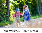 Kids In Traditional Bavarian...