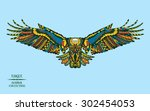 zentangle stylized eagle.... | Shutterstock .eps vector #302454053
