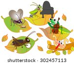 insects playing a musical... | Shutterstock .eps vector #302457113