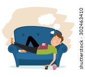 man sleep on sofa. couch and... | Shutterstock .eps vector #302463410