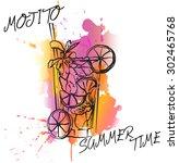 mojito cocktails drawn... | Shutterstock .eps vector #302465768
