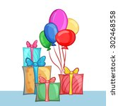 set of gift boxes and balloons. ... | Shutterstock .eps vector #302468558