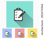 registration    icon with long... | Shutterstock .eps vector #302474966