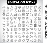 education icons set  thin line... | Shutterstock .eps vector #302484233