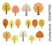 Set Of Autumn Trees   Vector...