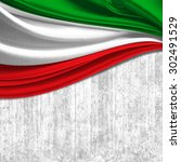 Italy Flag Of Silk With...