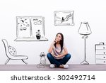 dreaming about new house.... | Shutterstock . vector #302492714