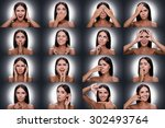 Small photo of Emotions and gestures. Collage of beautiful young shitless woman expressing diverse emotions and gesturing while standing against grey background