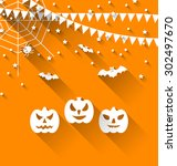 illustration halloween paper... | Shutterstock .eps vector #302497670