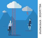 businessman look up a ladder to ... | Shutterstock .eps vector #302497784
