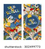 back to school retro styled... | Shutterstock .eps vector #302499773