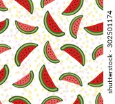 watermelon seamless pattern.... | Shutterstock .eps vector #302501174