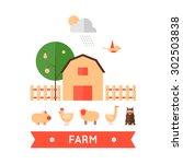 farm in village set of icons.