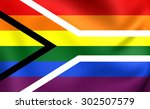 gay flag of south africa. close ... | Shutterstock . vector #302507579
