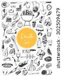 doodle set   bbq  | Shutterstock .eps vector #302509679