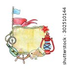 frame of sea elements hand... | Shutterstock . vector #302510144