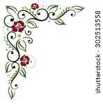 filigree red roses with leaves | Shutterstock .eps vector #302513558