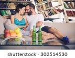 young romantic couple sitting... | Shutterstock . vector #302514530