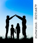 silhouette of a happy family... | Shutterstock . vector #302516879