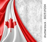 canada  flag of silk with... | Shutterstock . vector #302519204