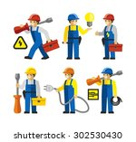 electricians workers figures... | Shutterstock .eps vector #302530430