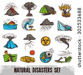 natural disasters color sketch... | Shutterstock .eps vector #302533688