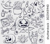 halloween characters and... | Shutterstock .eps vector #302545940