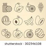 set of 12 fruit icons | Shutterstock .eps vector #302546108