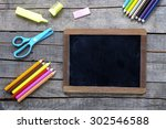colored pencils and writing... | Shutterstock . vector #302546588