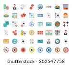 casino icon set. flat vector... | Shutterstock .eps vector #302547758
