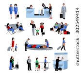 people in airport lounge flat... | Shutterstock .eps vector #302549414