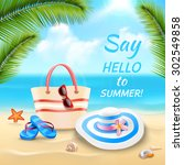 summer vacation background with ... | Shutterstock .eps vector #302549858