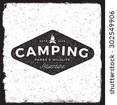 camping vintage emblem.... | Shutterstock .eps vector #302549906