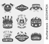 vector set of camping vintage... | Shutterstock .eps vector #302549924