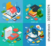 loans design concept set with... | Shutterstock .eps vector #302550374