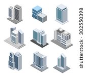 office building isometric with... | Shutterstock .eps vector #302550398